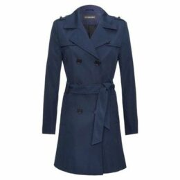 De La Creme  -Navy Womens Spring Tie Belted Trench Coat  women's Trench Coat in Blue