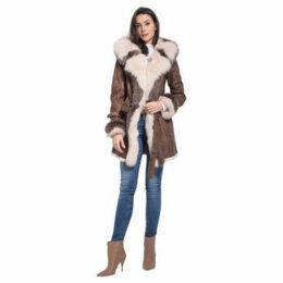 Intuitions Paris  Returned rabbit coat  women's Trench Coat in Brown