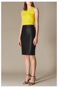 Womens Karen Millen Black Faux Leather Skirt -  Black