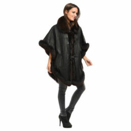 Intuitions Paris  Poncho  women's Coat in Black