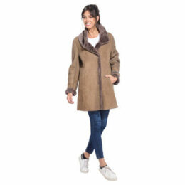 Giovanni  Long coat in sheep leather  women's Coat in Brown