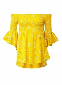 Womens *Izabel London Yellow Floral Print Bardot Top- Yellow, Yellow