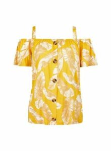 Womens Yellow Leaf Print Top- Yellow, Yellow