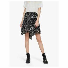 AllSaints Lea Scatter Print Skirt, Black