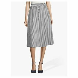 Betty & Co. Striped Cotton Blend Midi Skirt, Blue/White