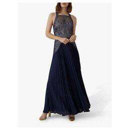 Karen Millen Pleated Lace Maxi Dress, Navy