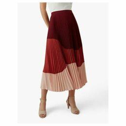 Karen Millen Tonal Pleated Skirt, Red/Pink