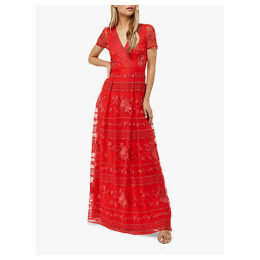 Monsoon Thisbe Floral Print Overlay Dress, Red