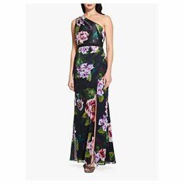 Adrianna Papell One Shoulder Print Dress, Black/Multi