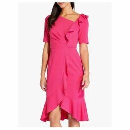 Adrianna Papell Draped Short Crepe Dress, Geranium