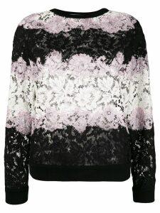 Valentino Lace applique stripe sweater - Black