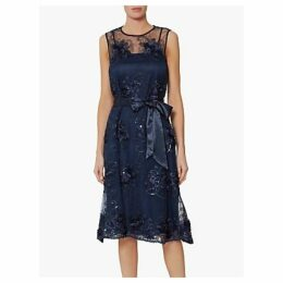 Gina Bacconi Embroidered Dress, Navy