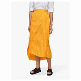 Selected Femme Melly Pleated Midi Skirt, Radiant Yellow
