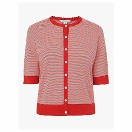 L.K.Bennett Valency Stripe Silk Cotton Cardigan, Red