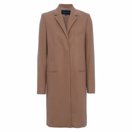 French Connection Platform Felt Long Sleeve Coat, Indian Tan
