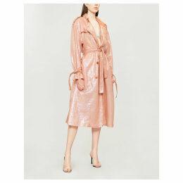 Sequin-embellished trench coat