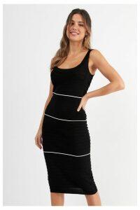 Womens Next Black/White Stripe Ripple Dress -  Black