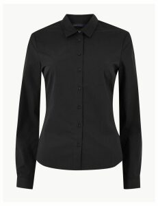M&S Collection Cotton Rich Button Detailed Shirt