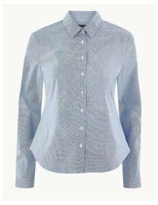 M&S Collection Cotton Rich Striped Button Detailed Shirt