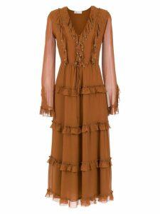 Nk ruffled midi dress - Brown
