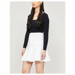 Gemini pleated denim skirt