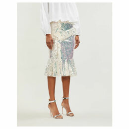 Scarlett ruffled-trim sequinned midi skirt