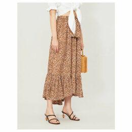 Sabila floral-print rayon midi skirt