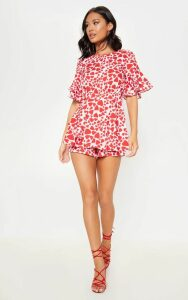 Pink Heart Print Frill Sleeve Tie Back Playsuit, Pink