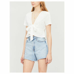 Short-sleeved V-neck cotton crop top