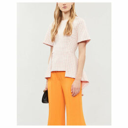 Checked short-sleeved stretch-jersey top