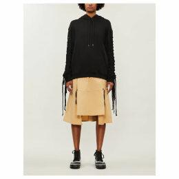 Ritual fringed-sleeve cotton-jersey hoody