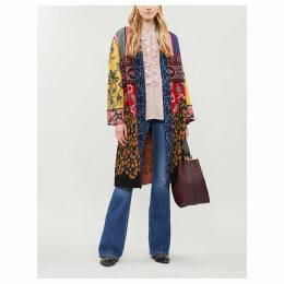Cornwall mixed-print metallic-knit coat