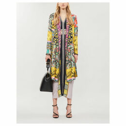 Cheshire mixed print silk-satin coat