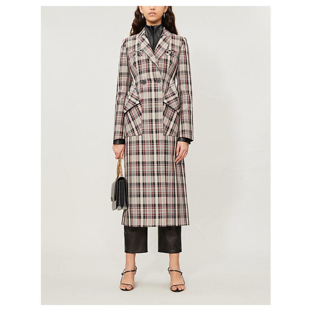 Oren checked woven-twill coat