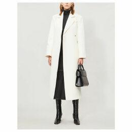 Meave padded-shoulder twill coat