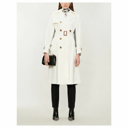 Houndstooth-panel double-breasted cotton trench coat