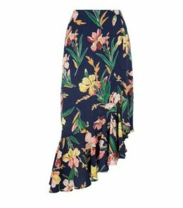 Blue Vanilla Navy Tropical Ruffle Midi Skirt New Look