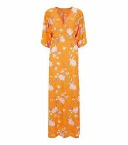Blue Vanilla Orange Floral Wrap Maxi Dress New Look