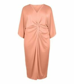 Blue Vanilla Curves Pink Twist Front Kimono Dress New Look