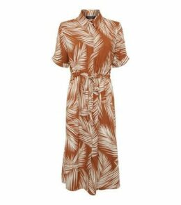 Brown Palm Print Midi Shirt Dress New Look