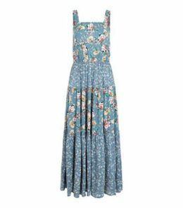 Tall Blue Mixed Floral Tiered Midi Dress New Look