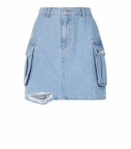 Blue Utility Pocket Denim Skirt New Look