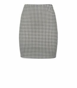 Black Gingham Scuba Tube Skirt New Look