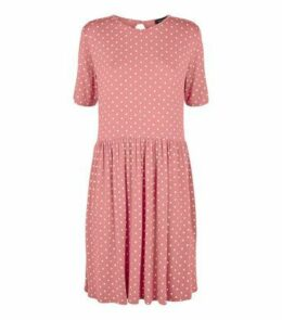 Pink Spot Print Short Sleeve Smock Dress New Look