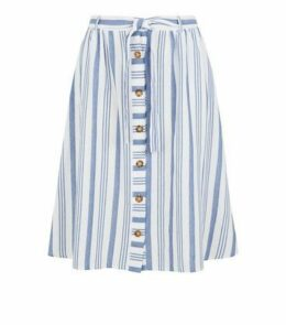Curves White Stripe Linen Look Midi Skirt New Look