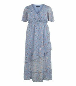 Curves Blue Floral Ruffle Wrap Dress New Look
