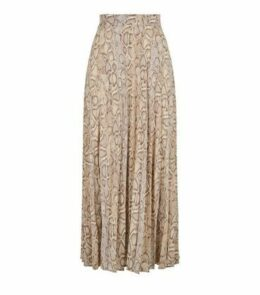 Tall Brown Snake Print Pleated Midi Skirt New Look
