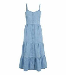 Pale Blue Denim Tiered Hem Midi Dress New Look