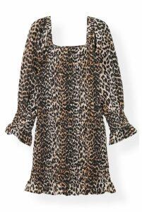 Ganni Smock Dress in Leopard - DK40 Leopard