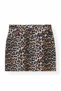 Ganni Printed Leopard Denim Skirt